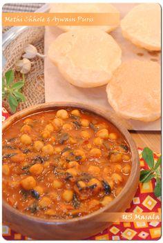 US Masala: Methi Chhole aur Ajwain Puri/Fenugreek chickpeas curry with fried puffed bread