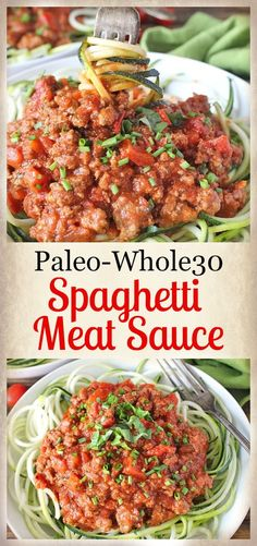 Paleo Whole30 Spaghetti Meat Sauce- ready in 30 minutes and so delicious! Gluten free, dairy free, and low FODMAP.  A great weeknight dinner.
