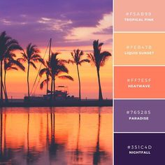New board - sunset color palette Colour Pallette, Colour Schemes, Color Patterns, Color Combos, Sunset Color Palette, Beach Color Schemes, Orange Palette, Purple Color Palettes, Decoration Inspiration