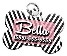 Pet ID Dog Tag (Bone Shaped) Stripe Pattern Personalized Custom Pet Tag with Pets Name and Contact Number (Disney Themed Font w/ Multiple Other Font Choices) (USA COMPANY) (Multiple Colors) >>> Want additional info? Click on the image. (This is an affiliate link and I receive a commission for the sales)