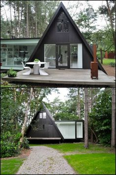 Here's a good option for those who live with heavy snow during the winter. Rather than gathering snow, the sloping roof allows it to slide to the ground. Could you live in an A-frame home?