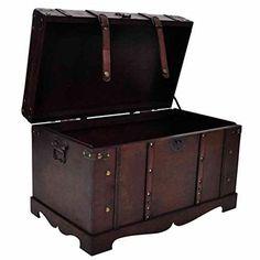 Antique Storage Chest Vintage Large Wooden Treasure Box Bedding Home Furniture  #AntiqueStorageChest