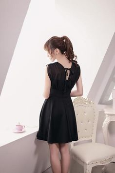 Japanese Fashion - V -neck chiffon  sleeveless A word dress - AddOneClothing - 5