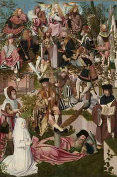 The Tree of Jesse, circle of Geertgen tot Sint Jans, c. 1500. Pictured here symbolically is Christ's family tree. It grows out of the sleeping figure of Jesse, forefather of a line of kings that included, according to tradition, Solomon, David and Jesus. The branches are filled with the kings of Israel, among them King David with his harp. At top, the Virgin is enthroned with the Christ Child on her lap.