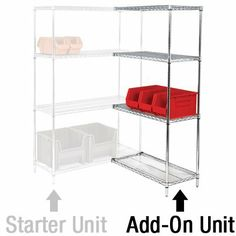 """72"""" x 36"""" x 74"""" - 4 Shelf Wire Shelving Add-On Unit, 1 EACH PER CASE by Plexon Products. $597.99. 72"""" x 36"""" x 74"""" - 4 Shelf Wire Shelving Add-On Unit, 1 EACH PER CASE, Configuration options include straight line, back-to-back and right angles (L-Shape). Includes four shelves, two posts and eight S-hook connectors. Additional Shelves and Accessories sold separately. Use with Starter Unit WS723674. Please Note: Starter Unit with Add-On Unit cannot be made mobile wit..."""