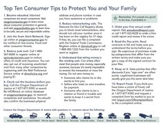 Top ten consumer tips to protect you and your family, by the Oregon Department of Justice, Financial Fraud/Consumer Protection Section