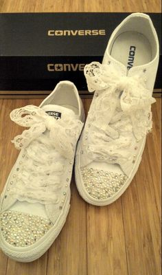 cace19823f5242 Crystal and pearl converse with lace shoe laces  ) I really enjoyed doing  these!