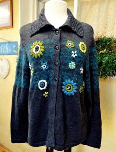 c31b41e971 Christopher   Banks Womens L Sweater Relaxed Cotton Blend LS Button Front  Collar