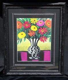 Floral Vase Oil Pastel  www.tanyadesigns.net
