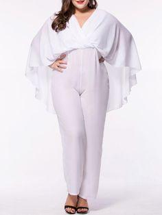 Cape Sleeve V-Neck Plain Straight Plus Size Jumpsuit