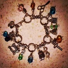 Birthstone Sewing charm bracelet made for a friend