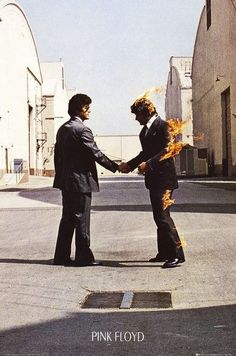 """A great poster of the enigmatic Hipgnosis album cover art from the Pink Floyd LP Wish You Were Here! Take some """"Time"""" to check out the cover Pink Floyd Wish You Were Here Poster Poster Pink Floyd, Art Pink Floyd, Pink Floyd Album Covers, Pink Floyd Albums, David Gilmour, Rock Posters, Concert Posters, Naruto Poster, Imagenes Pink Floyd"""