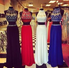 High Neck Crystal Diamond Removable Detachable Skirt Two Pieces Black Chiffon Long Prom Dress,Mid Section Red Prom Dress,Bodice Royal Blue Prom Dresses,White Evening Dress