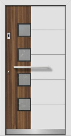Modern wood-aluminum front doors directly from the specialist company with measurements, delivery and installation. Informations About Modern wood-aluminum front doors directly fr Wooden Front Door Design, House Front Design, Front Gate Design, Flush Door Design, Door Gate Design, Bedroom Door Design, Door Design Interior, Custom Wood Doors, Wooden Doors