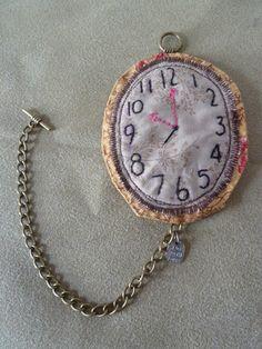 Handmade fabric watch brooch