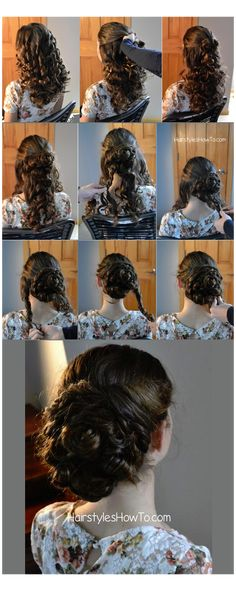 Pin Curl Bun Updo Tutorial (Hair and Beauty Tutorials) Start with the hair in tight curls. My preferred method for this style is to wrap 1 to 2 inch sections. Retro Hairstyles, Bun Hairstyles, Curly Bun, Updo Tutorial, Diy Hair Mask, Bun Updo, Sleek Ponytail, Beauty Tutorials, Hair Tutorials