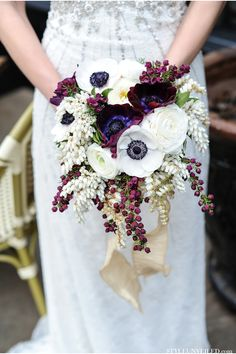 Gorgeous Lilac and Anemone bouquet. #wedding #flowers