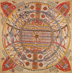 Jain manuscript, Aḍhāī-dvīpa, 'Two and a half continents'. Painting on cloth, century (British Library Or Earth Pigments, Go Online, Albert Museum, British Library, 15th Century, British Museum, Astronomy, Vintage World Maps, Old Things