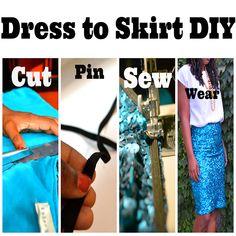 Sequin Dress to Sequin Skirt Tutorial