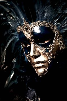 Amazing black and gold Venetian carnival mask. One of my favorites!