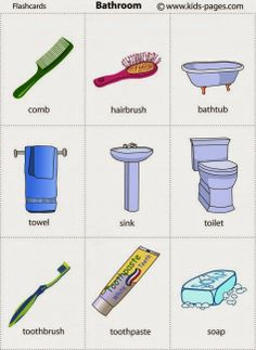 Household vocabulary - Bathroom furniture and tools [flashcards] English Lessons For Kids, Kids English, English Tips, English Study, English Class, French Lessons, Spanish Lessons, English Vocabulary Words, Learn English Words