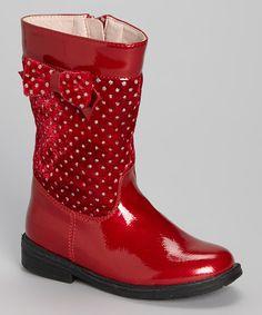 Look at this #zulilyfind! Red Patent Glitter Bow Boot by Laura Ashley #zulilyfinds