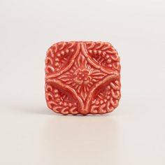 One of my favorite discoveries at WorldMarket.com: Square Coral Embossed Ceramic Knobs, Set of 2