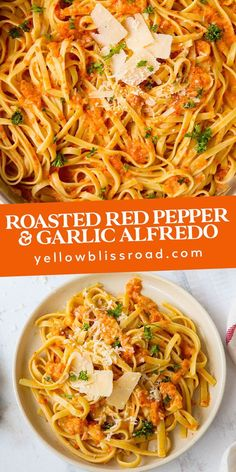 Roasted Red Pepper Alfredo is sophisticated and delicious, made with roasted red peppers and roasted garlic. Top your pasta with something truly special! for dinner for two main dishes Fettuccine Alfredo, Sauce Alfredo, Pasta Fettucine, Fettuccine Recipes, Linguine, Vegetarian Recipes, Cooking Recipes, Healthy Recipes, Mexican Recipes