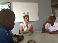Sandra (Ganemosle) talking with Diabetes Hands Foundation and Haiti teams #Ayuda2012