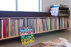 Another pic of the bench/LP storage idea. Room Design, Home, Record Room, Modern, Vinyl, Desert Homes, Modern Desert, Vinyl Storage, Living Room Designs