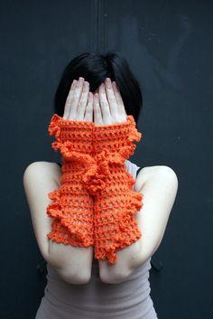 Hand crochet fingerless gloves  arm warmers  by KnitAndWedding, $29.00