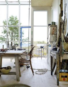 I love the Art Studio in the sun room with all the windows. I have seen this in my dream house. It will come!