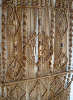Large Vintage 70s Hippie Fiber Art Macrame Wall Hanging I remember making one of these in High School.