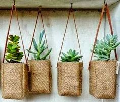 Upcycled Burlap coffee bags with leather strap.for plants! Upcycled Burlap coffee bags with leather strap.for plants! Burlap Coffee Bags, Coffee Sacks, Hanging Baskets, Hanging Plants, Hanging Succulents, Potted Plants, Diy Hanging, Indoor Plants, Succulents Garden