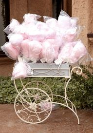 Soft pink cotton candy wedding favors in a vintage cart - a perfect spring wedding or summer wedding favor idea! Cotton Candy Favors, Cotton Candy Wedding, Candy Wedding Favors, Pink Cotton Candy, Party Favors, Shower Favors, Party Candy, Wedding Candy Bars, Cotton Candy Tree