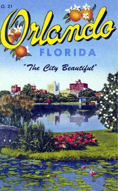 View of Orlando, Florida Premium Poster ✨ 🌎 Vintage Florida, Old Florida, Florida Travel, Central Florida, Orlando Florida, Downtown Orlando, Visit Florida, Universal Orlando, Vintage Travel Posters