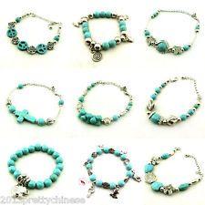 Hot Jewellery Tibetan Silver Bangle Turquoise Beads Chain/String Bracelets Decor