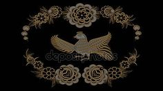 Abstract black background with gold and silver folk patterns