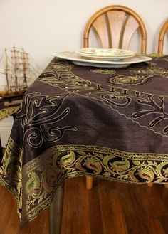 "Charming coffee brown embroidered #tablecloth. Beautifully crafted in India. Available in 52"" X 70"" and 60"" X 104"" rectangular sizes."