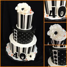 Brooke's 40th Black and White Cake