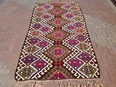 """10'8"""" x 5'5""""  purple  Kilim runner, Vintage Turkish kilim rug, kilim rug, red area rug, vintage furniture, floor decor"""