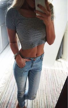 crop top + skinny jeans
