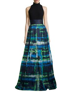 Halter T-Back Jersey Bodice Plaid Skirt Gown  by Theia at Neiman Marcus.