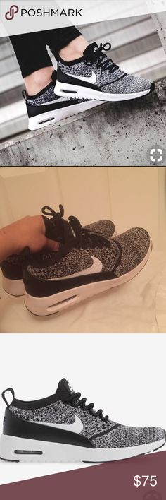 Nike air max thea flyknit   *PRICE FIRM Cute knit sneakers in great condition worn twice retail for $130 online narrow fit and true to size  *offers not accepted  *no trades Nike Shoes Athletic Shoes