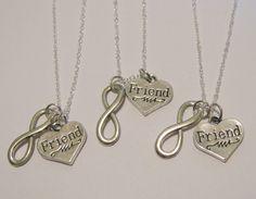 Items similar to 3 Infinity Best Friend Necklaces BFF on Etsy Bff Necklaces, Best Friend Necklaces, Couple Necklaces, Best Friend Jewelry, Love You Best Friend, Best Friend Shirts, Friends Are Like, Best Friends Forever, Gifts For Your Bestfriend