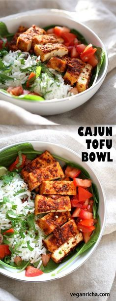 Cajun Tofu with Cilantro Lime Rice. Baked Cajun Spiced Tofu, over greens, cilantro lime rice, and tomatoes. Easy Spicy Bowl. Vegan Gluten-free Nut-free Recipe. Use Chickpea tofu to make soy-free. | VeganRicha.com