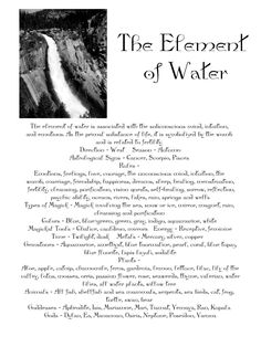 Elements Water:  The Element of WATER.