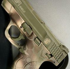 Smith & Wesson M&P shield in 4 color kryptek camo with color fill #cerakote #ericksonarms #9mm #guns