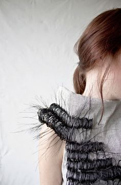 Innovative textiles design for fashion - dress with intricate horsehair woven design; fabric manipulation // Marianne Kemp