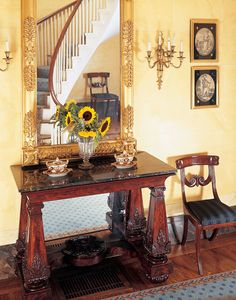 Greek Revival row house Edward Shaw designed for Adam and Mary Greek Revival Architecture, Greek Revival Home, Empire Furniture, Empire Style, Magazine Art, Old Houses, Alter, Entryway Tables, Dining Chairs
